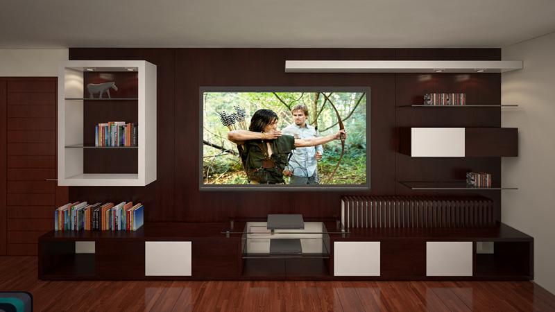 Muebles de tv alto madero for Muebles industriales sala de estar